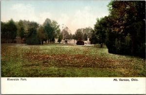 Mt Vernon Ohio~Riverside Park Monuments~Fall Leaves~1905 Postcard