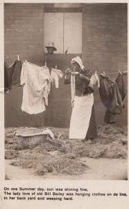 African Man Dresses Woman Gay Interest Hanging Washing Songcard RPC WAF Postcard