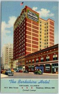 Chicago IL Postcard THE BERKSHIRE HOTEL Street View Curteich Linen c1940s Unused