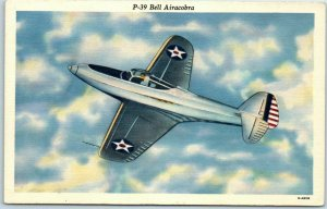 Vintage Military Aviation Postcard P-39 Bell Airacobra WWII Linen Unused 1940s