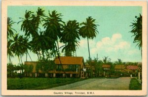 Postally-Used Trinidad, B.W.I. Postcard Country Village w/ La Guaira Cancel