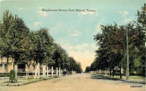 C-1910 FORT WORTH TEXAS Henderson Street SH KRESS Postcard 1844