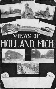 Holland Michigan~9 Mini Multi View~Main Street~Steamer~School~Trolley~1907 PC