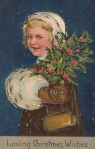CHRISTMAS, 1900-10s; Girl, bonnet & hand muff, Holly, PFB 9025