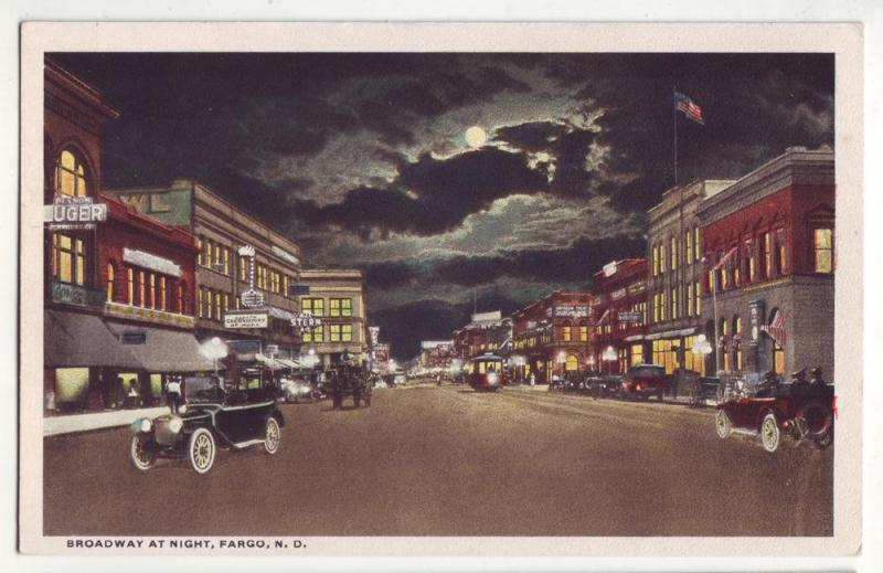 P249 JL old postcard fargo nd broadway @ night old cars sign