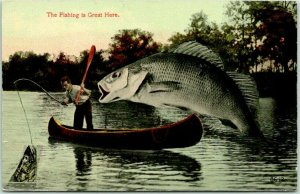 1913 Iowa EXAGGERATION Comic Postcard The Fishing is Great Here Fish Boat