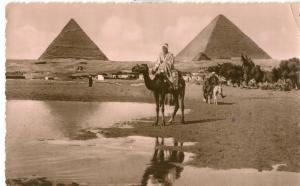 Egypt, The Pyramids of Giza, 1955 used Real Photo Postcard