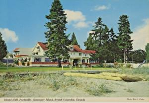 Island Hall Hotel Parksville BC (now location of Beach Club Resort) Postcard D22