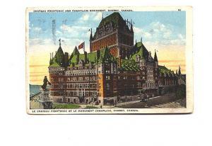 Chateau Frontenac Close Up, Quebec Quebec, Garneau, Slogan Cancel, Holiday Ca...
