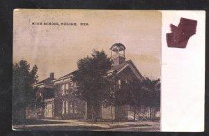 NELIGH NEBRASKA HIGH SCHOOL BUILDING VINTAGE POSTCARD WYMORE ONTARIO CALIF.