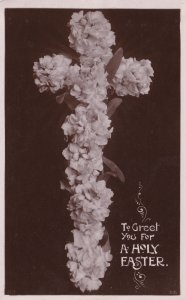 Crucifix Made From Flowers Real Photo Old Easter Postcard