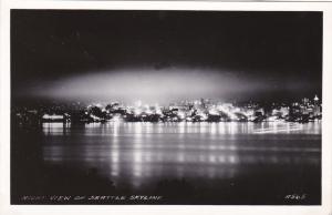 RP: SEATTLE, Washington; Night View of Skyline, 1950s