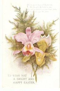 Orchid Flowers Tuck Oilette Easter Greetings Ser. PC # 8851