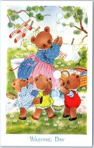 Vintage Artist-Signed Willy Schermele Postcard WASHING DAY Teddy Bear Family