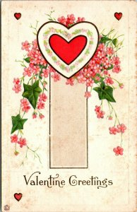 VALENTINE GREETINGS - EMBOSSED HEART FLOWERS - VINTAGE - Series 87 D - POSTCARD