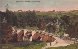 Greystone Bridge, Launceton, England, Early Handcolored Postcard, Unused
