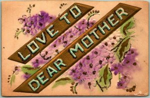 1910s Large Letter Embossed Postcard LOVE TO DEAR MOTHER Airbrushed / Glitter
