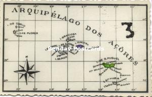 Portugal, Azores Açores, MAP Postcard (1955) RPPC