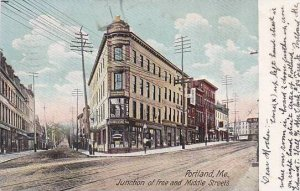 Maine Portland Junction Of Free & Middle Streets Hays Drug Store 1906