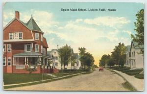 Lisbon Falls Maine~Upper Main Street~Homes Both Sides of Dirt Road~Auto~c1908 PC