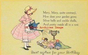 6 Postcards, Birthday Greetings with Nursery Rhymes, Little Bo Peep-Jack & Jill
