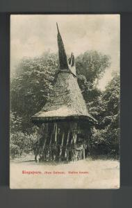 Mint Singapore New Guinea BW RPPC Postcard native Thatch Hut