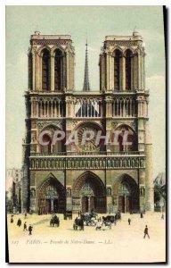Old Postcard Paris Facade of Notre Dame