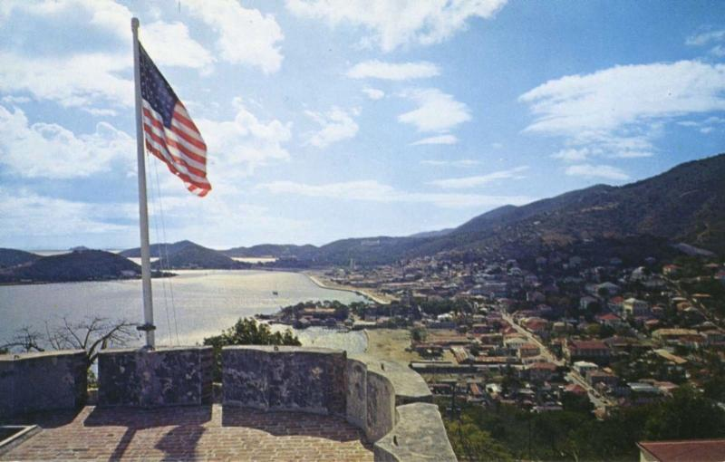 Charlotte Amalie St. Thomas US Virgin Islands USA Flag Unused Postcard D15