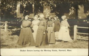 Harvard MA Shaker Sisters Leaving Meeting House c1910 RPPC GOOD MESSAGE