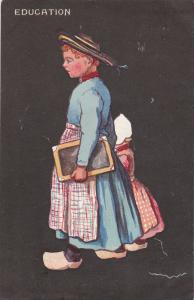TUCK #6709; Education Dutch girl holding black board and the hand of little gi