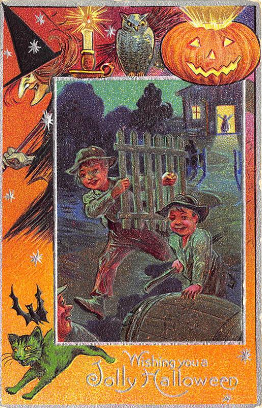 Jolly Halloween Fence Running Boys Witch J-O-L Green Cat Embossed Postcard