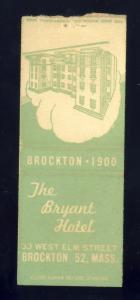 Brockton, Massachusetts/Mass/MA Matchcover, The Bryant Hotel