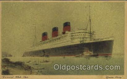 Queen Mary Cunard White Star Line Ship, Ships, Postcard Postcards  Queen Mary