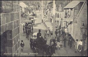 Dominica W.I., ROSEAU, Market Street, Horse Carts (1910s)