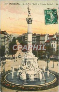 Old Postcard Marseille Boulevard Baille and Fontaine Cantini