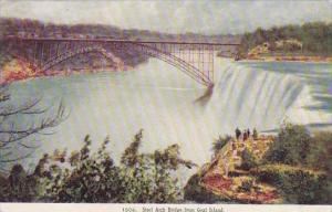 New York Goat Island Steel Arch Bridge From Goat Island