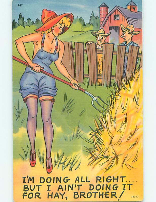 Unused Linen risque SEXY FARM GIRL WEARS ONLY OVERALLS & STOCKINGS r2102@