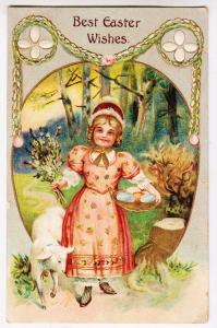Best Easter Wishes, Girl & Lamb