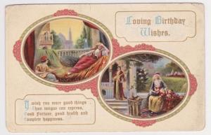 Minstrels Beautiful Lady Good Fortune Birthday Wishes Vintage Postcard A36