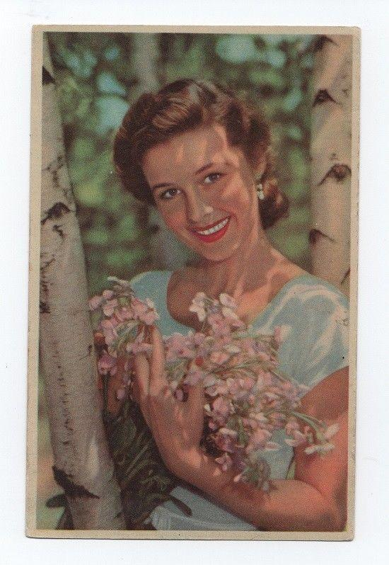 Postcard 1950s WOMAN LADY GLAMOUR GIRL PIN UP posing & smile & flowers