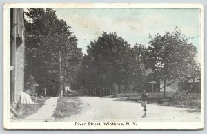 Winthrop New York~Man on River Street~Sign in the Middle~Store~Homes~1922 B&W