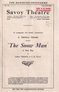 The Snowman Gertrude Kingston A Greville Collins Theatre Programme