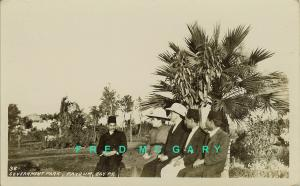 1910 Fayoum Egypt RPPC: Five People at Government Park