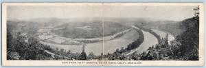 Postcard MD Flintstone View Point Lookout of Green Ridge Valley Double Panel S5