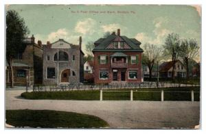 1909 No. 3 Post Office and Bank, Berwyn, PA Postcard