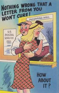 Blond woman getting consoled by Postal clerk, Nothing wrong that a letter fr...