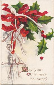 Clapsaddle Christmas Wishbones Red Ribbin with Holly 1908