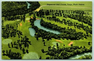 Fargo North Dakota~Edgewood Golf Course Birdseye~1951 Linen Postcard