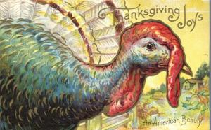 Thanksgiving Joys and Greetings Colorful Turkey an American Beauty pm 1910 - DB