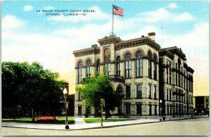 Ottawa, Illinois Postcard LA SALLE COUNTY COURT HOUSE Street View Linen c1940s